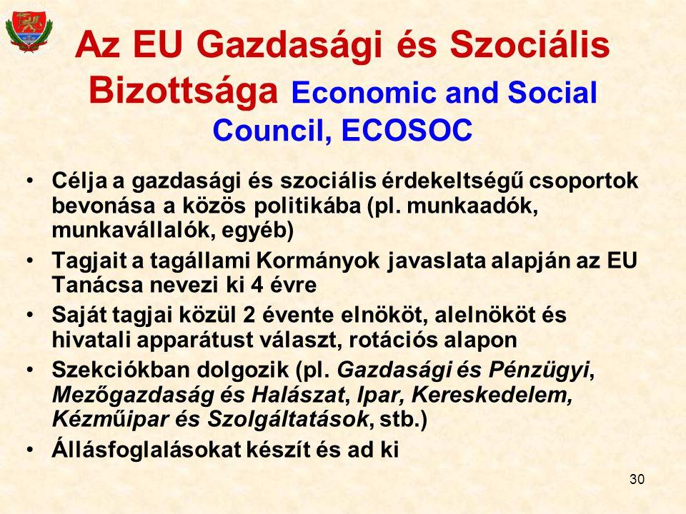 Az EU Gazdasági és Szociális Bizottsága Economic and Social Council, ECOSOC