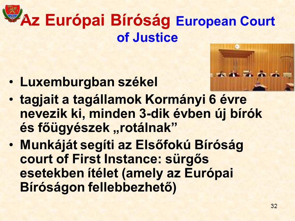Az Európai Bíróság European Court of Justice
