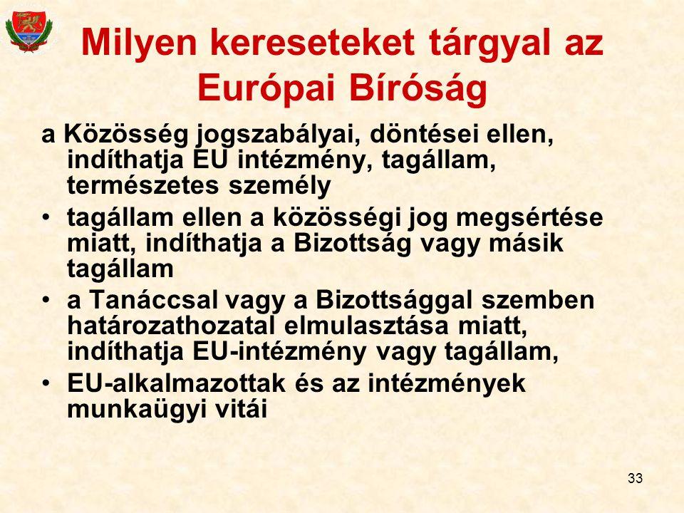 Milyen kereseteket tárgyal az Európai Bíróság