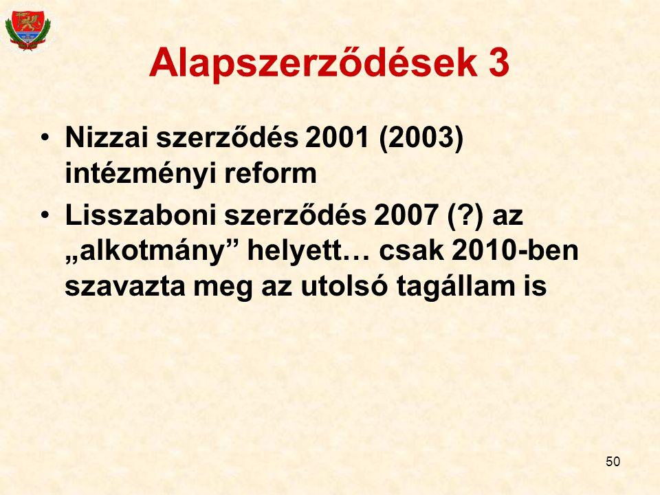 Alapszerződések 3 Nizzai szerződés 2001 (2003) intézményi reform
