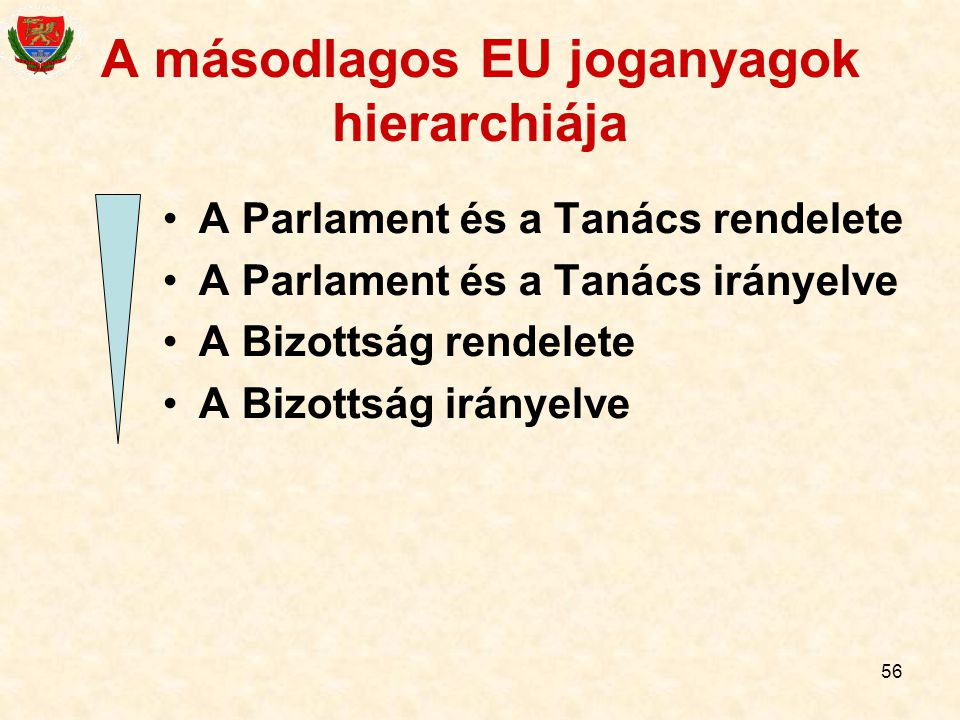A másodlagos EU joganyagok hierarchiája