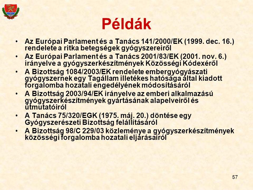 Példák Az Európai Parlament és a Tanács 141/2000/EK (1999. dec. 16.) rendelete a ritka betegségek gyógyszereiről.