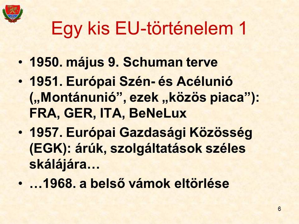 Egy kis EU-történelem 1 1950. május 9. Schuman terve