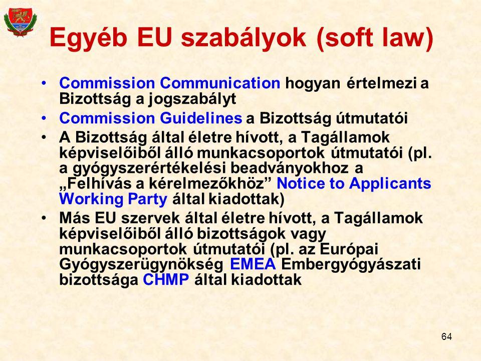 Egyéb EU szabályok (soft law)