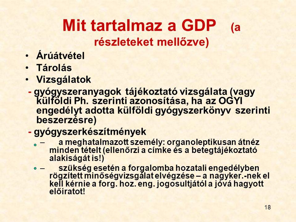Mit tartalmaz a GDP (a részleteket mellőzve)