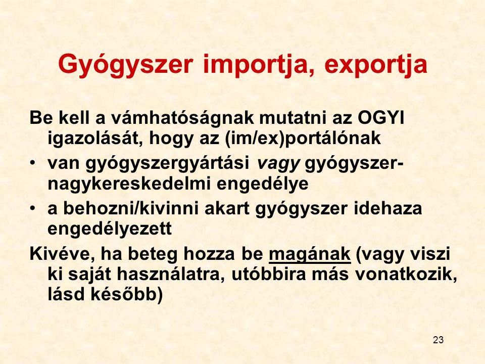 Gyógyszer importja, exportja
