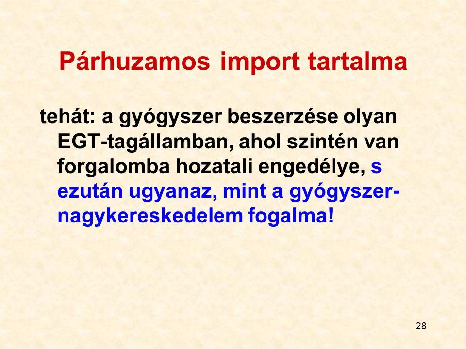 Párhuzamos import tartalma