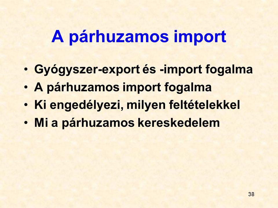 A párhuzamos import Gyógyszer-export és -import fogalma