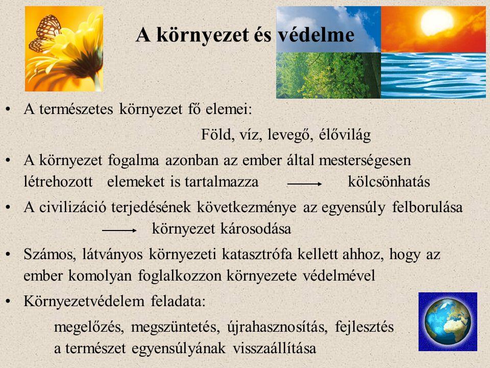 A környezet és védelme A természetes környezet fő elemei: