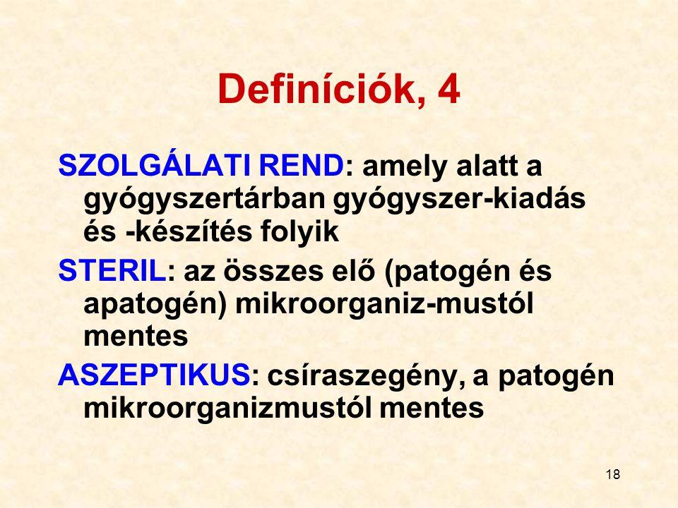 Definíciók, 4 SZOLGÁLATI REND: amely alatt a gyógyszertárban gyógyszer-kiadás és -készítés folyik.