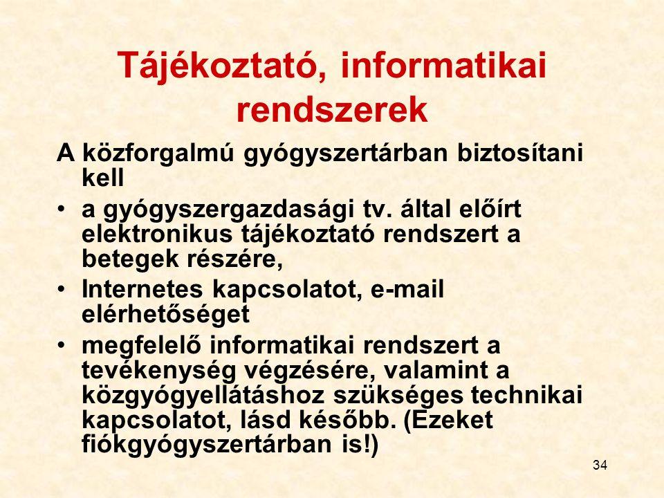 Tájékoztató, informatikai rendszerek