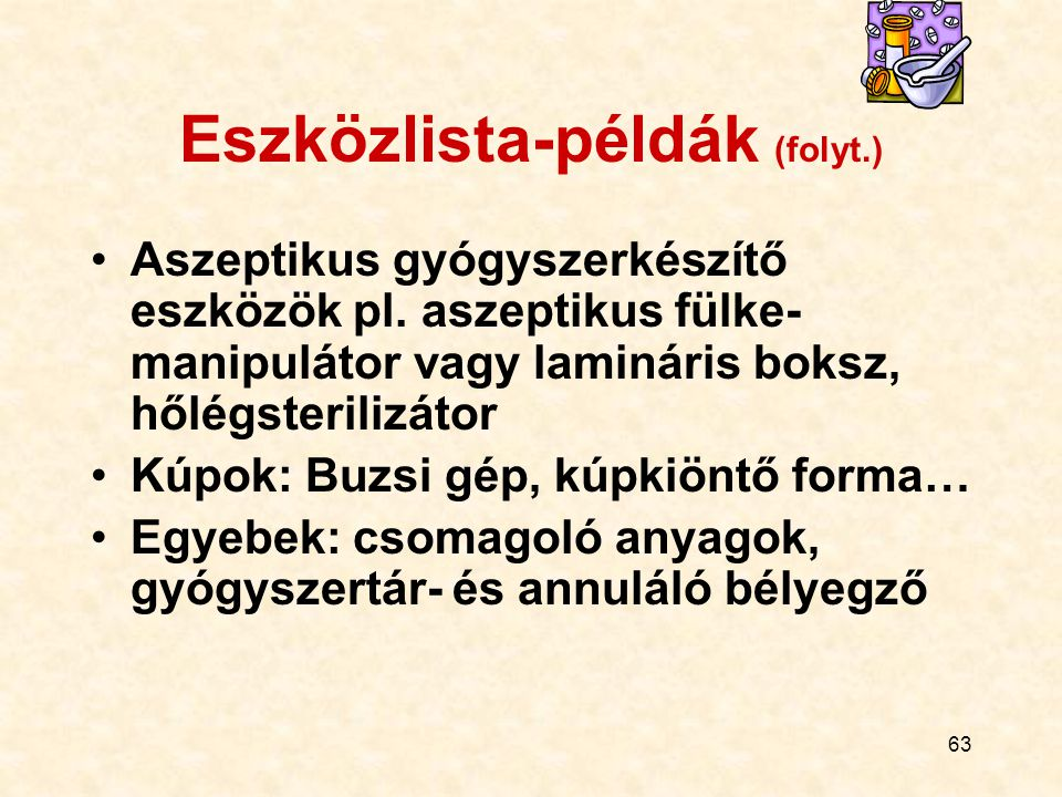Eszközlista-példák (folyt.)