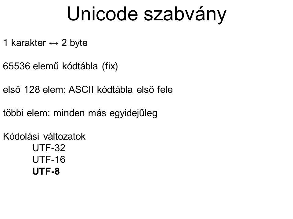 Unicode szabvány 1 karakter ↔ 2 byte 65536 elemű kódtábla (fix)
