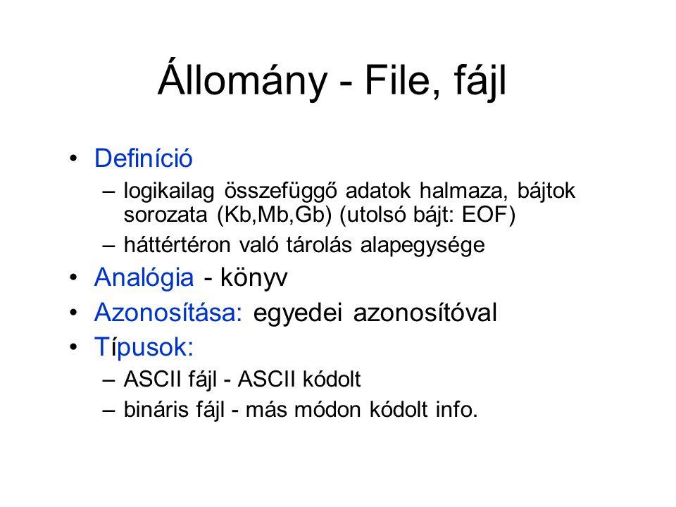 Állomány - File, fájl Definíció Analógia - könyv