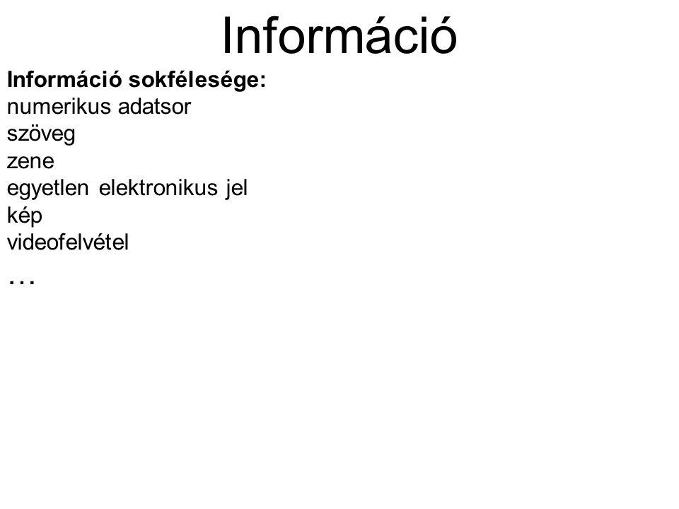 Információ … Információ sokfélesége: numerikus adatsor szöveg zene