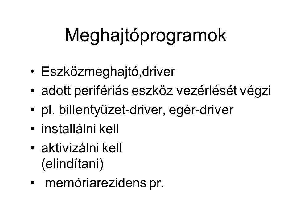 Meghajtóprogramok Eszközmeghajtó,driver