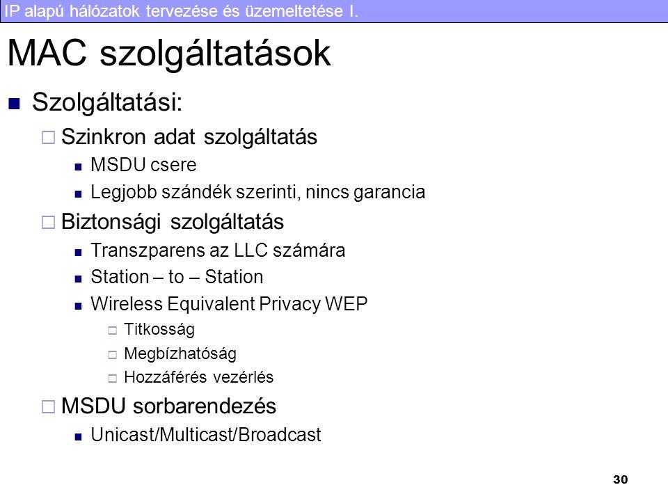 MAC szolgáltatások Szolgáltatási: Szinkron adat szolgáltatás