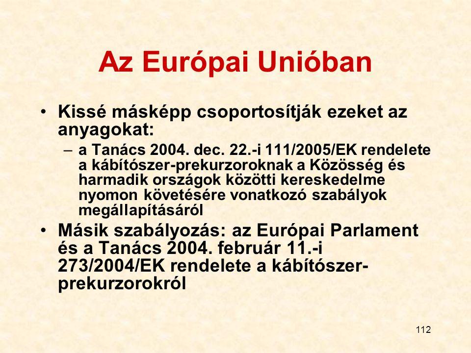 Az Európai Unióban Kissé másképp csoportosítják ezeket az anyagokat: