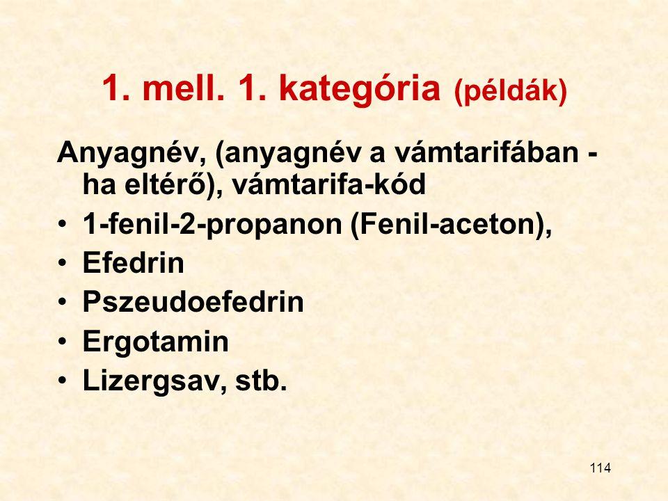 1. mell. 1. kategória (példák)