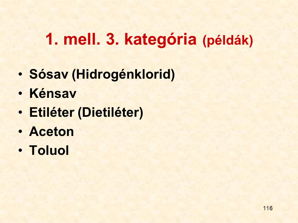 1. mell. 3. kategória (példák)