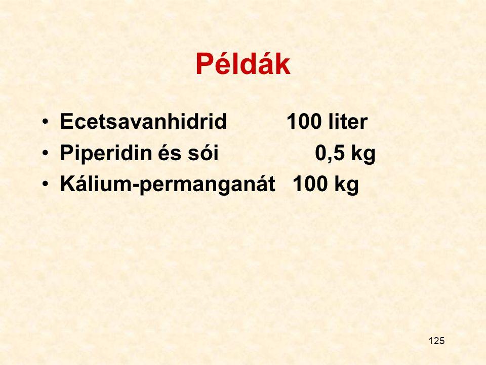 Példák Ecetsavanhidrid 100 liter Piperidin és sói 0,5 kg