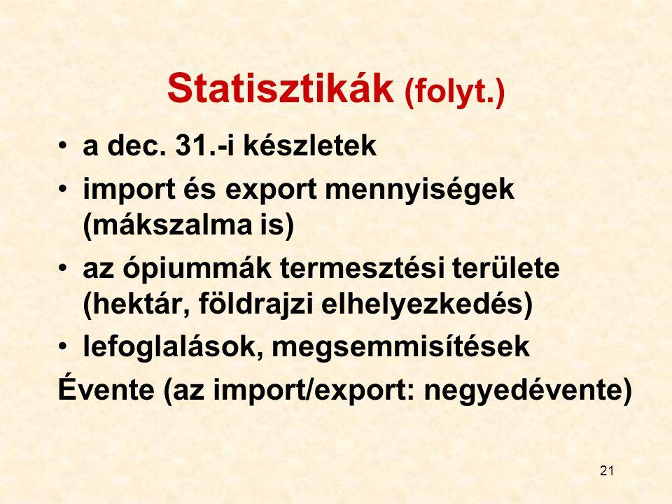 Statisztikák (folyt.) a dec. 31.-i készletek