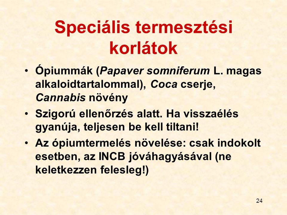 Speciális termesztési korlátok