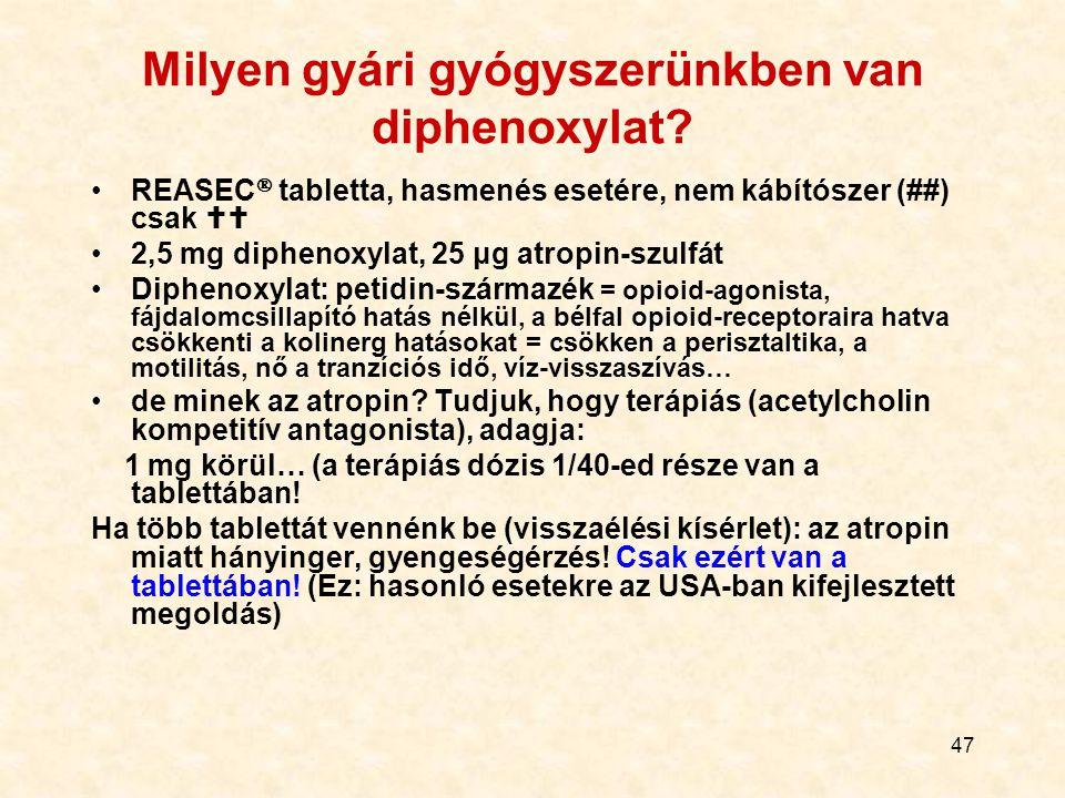 Milyen gyári gyógyszerünkben van diphenoxylat
