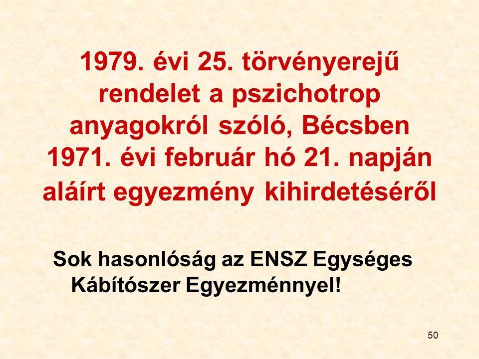 1979. évi 25. törvényerejű rendelet a pszichotrop anyagokról szóló, Bécsben 1971. évi február hó 21. napján aláírt egyezmény kihirdetéséről