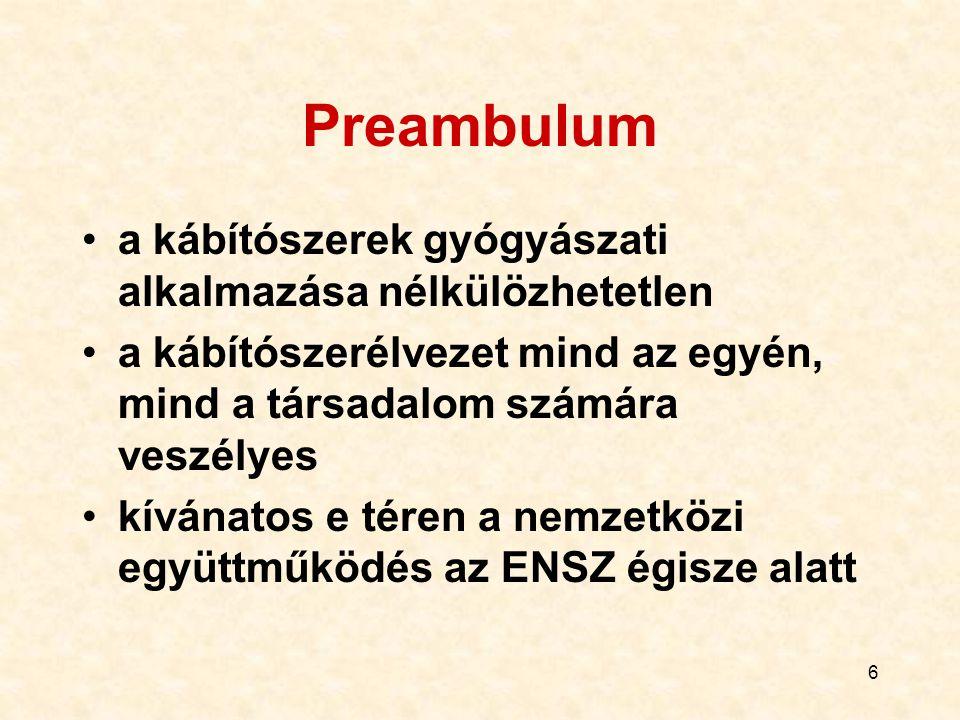 Preambulum a kábítószerek gyógyászati alkalmazása nélkülözhetetlen