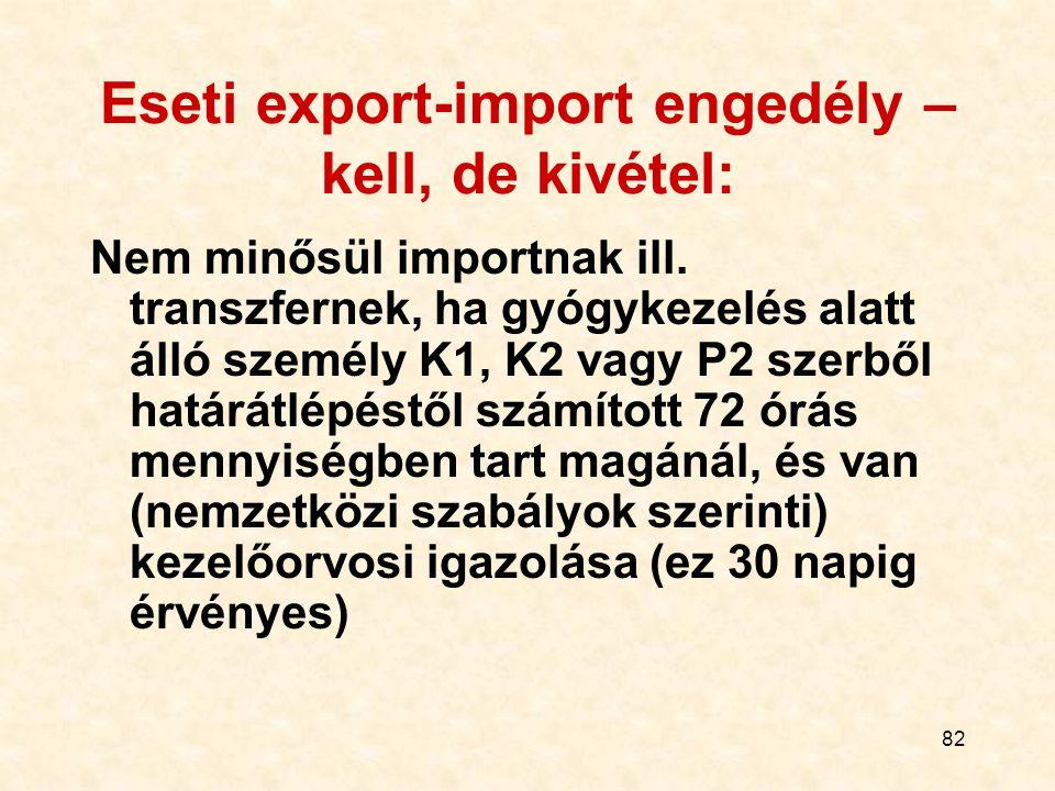 Eseti export-import engedély – kell, de kivétel: