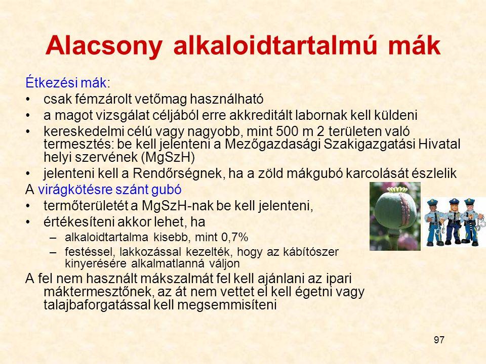 Alacsony alkaloidtartalmú mák