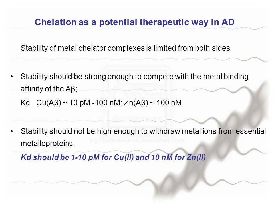 Chelation as a potential therapeutic way in AD