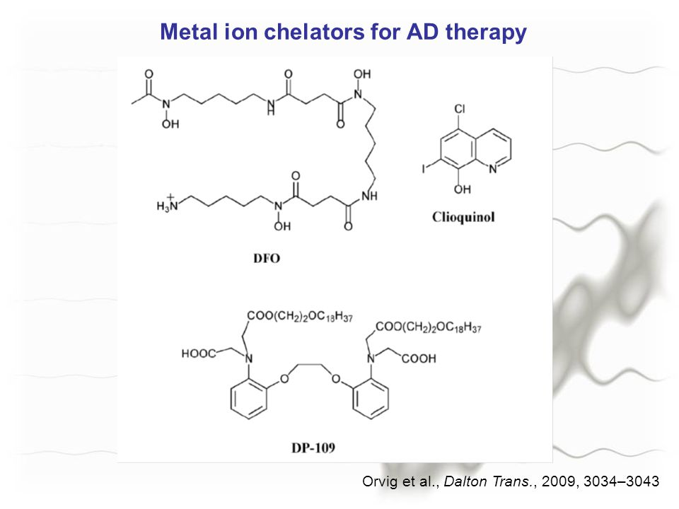 Metal ion chelators for AD therapy