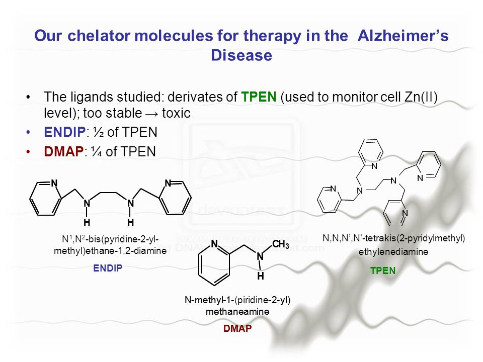 Our chelator molecules for therapy in the Alzheimer's Disease