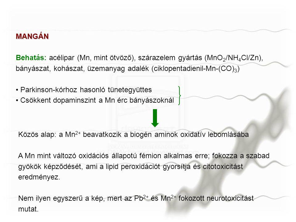 MANGÁN Behatás: acélipar (Mn, mint ötvöző), szárazelem gyártás (MnO2/NH4Cl/Zn), bányászat, kohászat, üzemanyag adalék (ciklopentadienil-Mn-(CO)3)