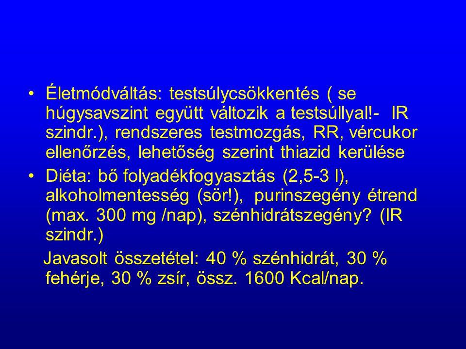 Életmódváltás: testsúlycsökkentés ( se húgysavszint együtt változik a testsúllyal!- IR szindr.), rendszeres testmozgás, RR, vércukor ellenőrzés, lehetőség szerint thiazid kerülése