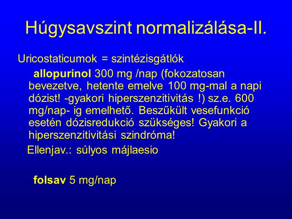Húgysavszint normalizálása-II.