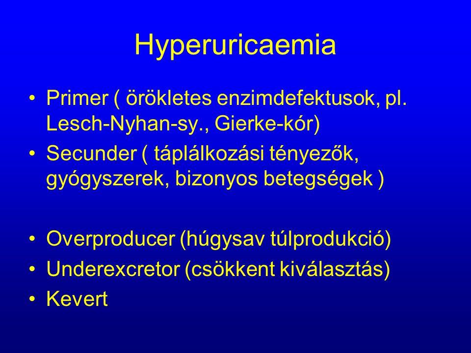 Hyperuricaemia Primer ( örökletes enzimdefektusok, pl. Lesch-Nyhan-sy., Gierke-kór)