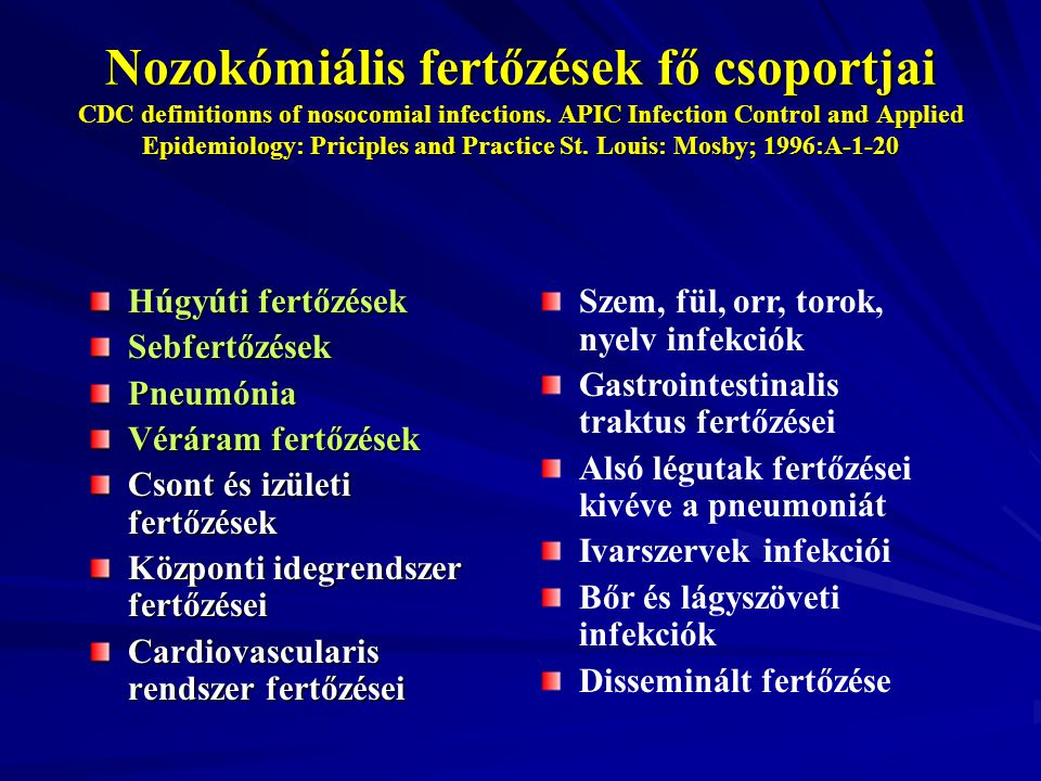 Nozokómiális fertőzések fő csoportjai CDC definitionns of nosocomial infections. APIC Infection Control and Applied Epidemiology: Priciples and Practice St. Louis: Mosby; 1996:A-1-20