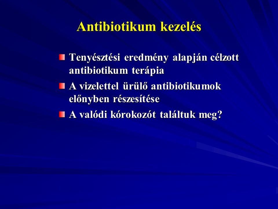 Antibiotikum kezelés Tenyésztési eredmény alapján célzott antibiotikum terápia. A vizelettel ürülő antibiotikumok előnyben részesítése.