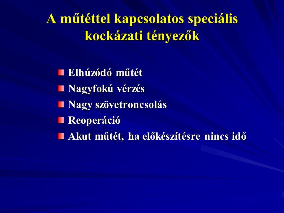 A műtéttel kapcsolatos speciális kockázati tényezők