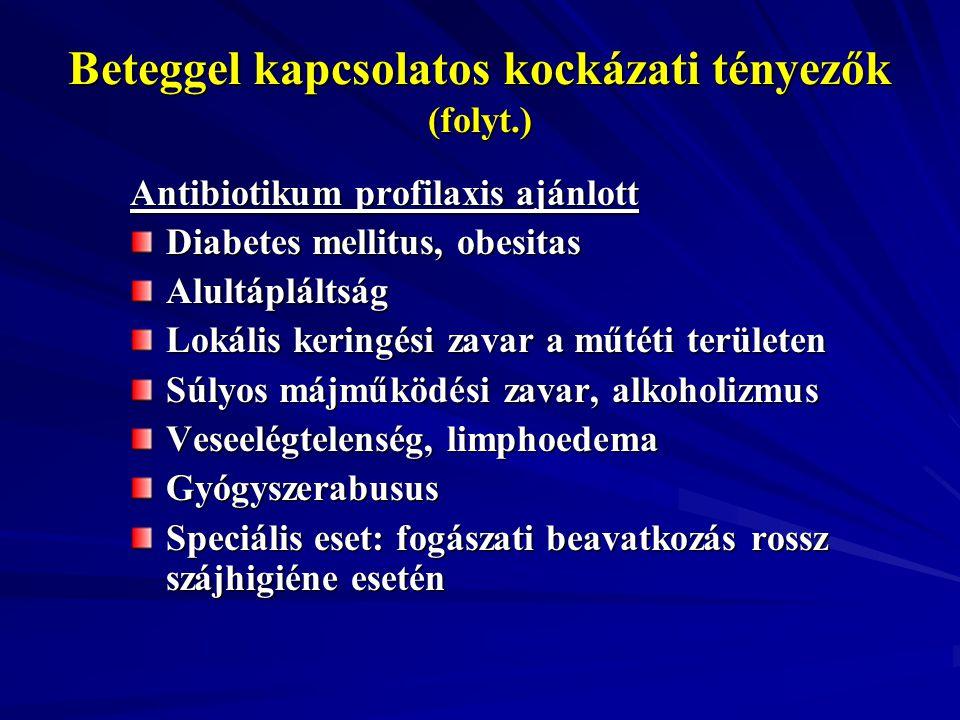 Beteggel kapcsolatos kockázati tényezők (folyt.)