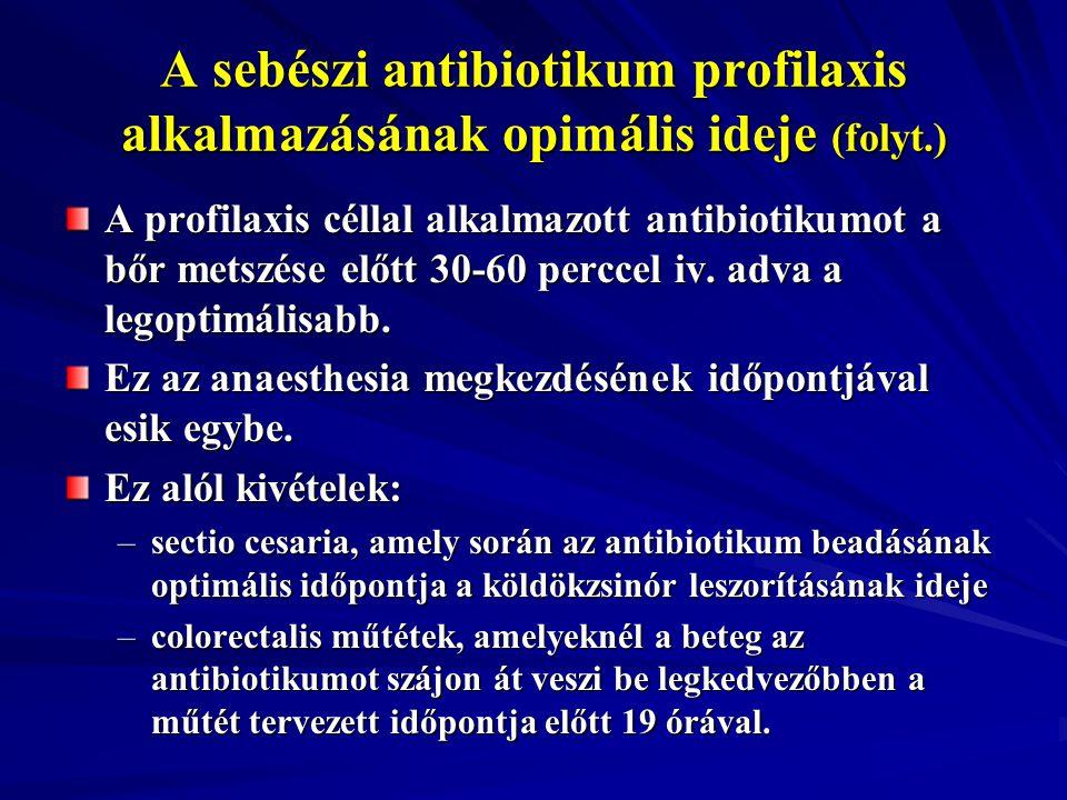 A sebészi antibiotikum profilaxis alkalmazásának opimális ideje (folyt
