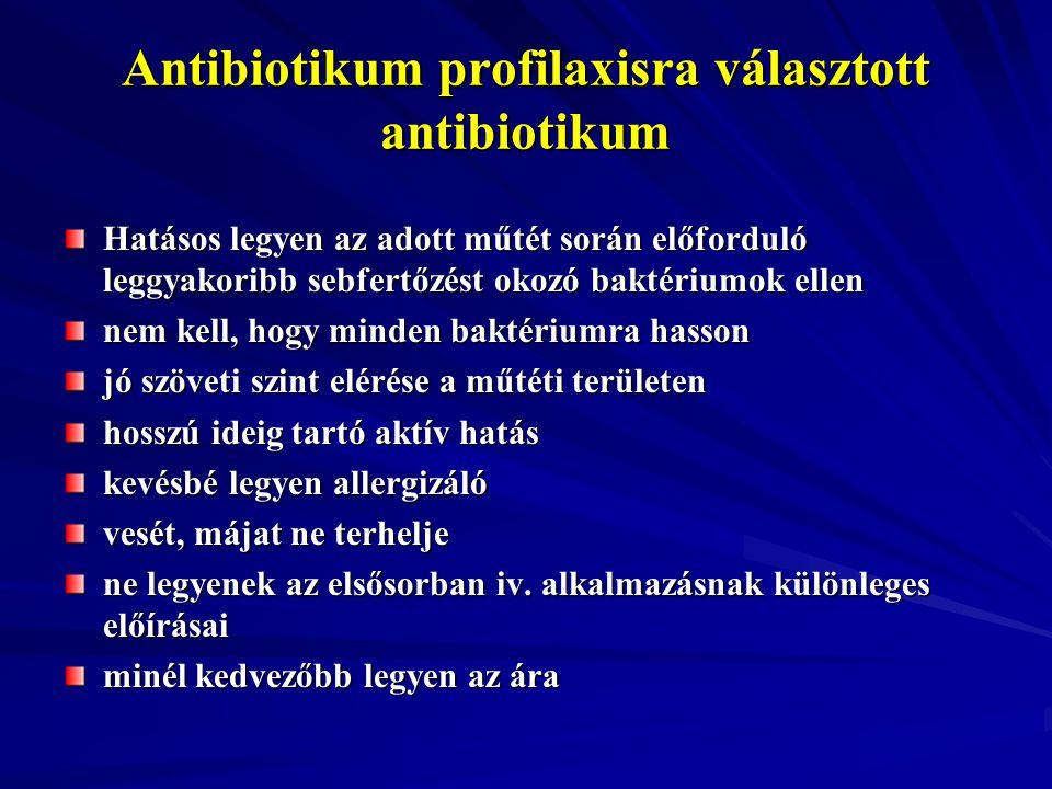 Antibiotikum profilaxisra választott antibiotikum