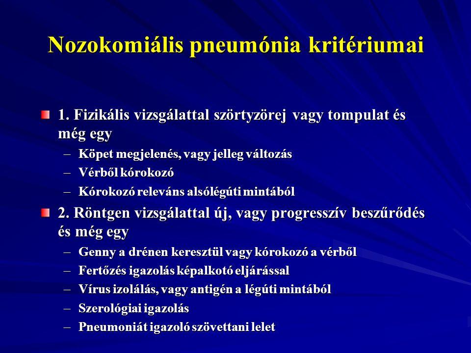 Nozokomiális pneumónia kritériumai