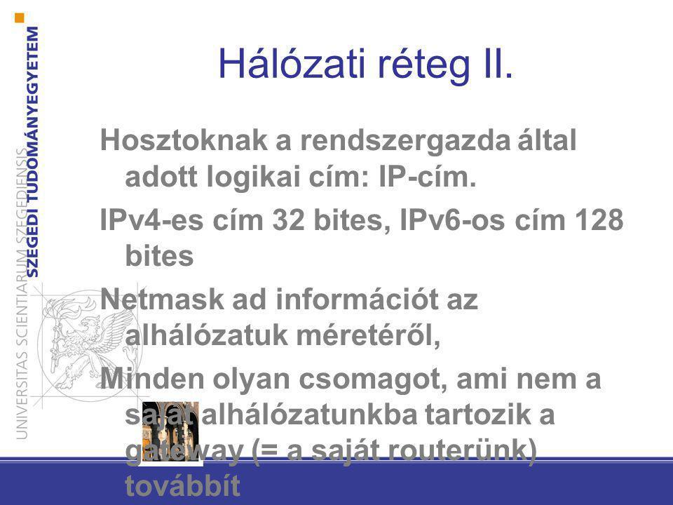 Hálózati réteg II. Hosztoknak a rendszergazda által adott logikai cím: IP-cím. IPv4-es cím 32 bites, IPv6-os cím 128 bites.