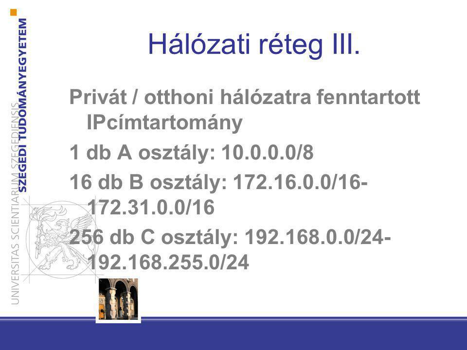 Hálózati réteg III. Privát / otthoni hálózatra fenntartott IPcímtartomány. 1 db A osztály: 10.0.0.0/8.