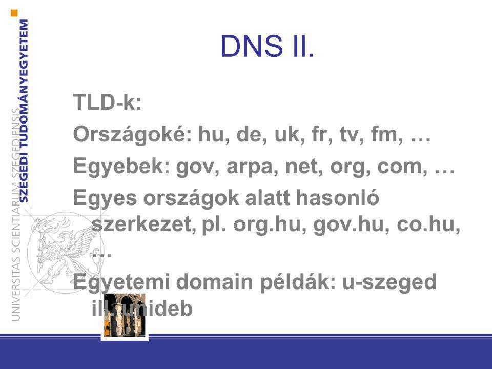 DNS II. TLD-k: Országoké: hu, de, uk, fr, tv, fm, …