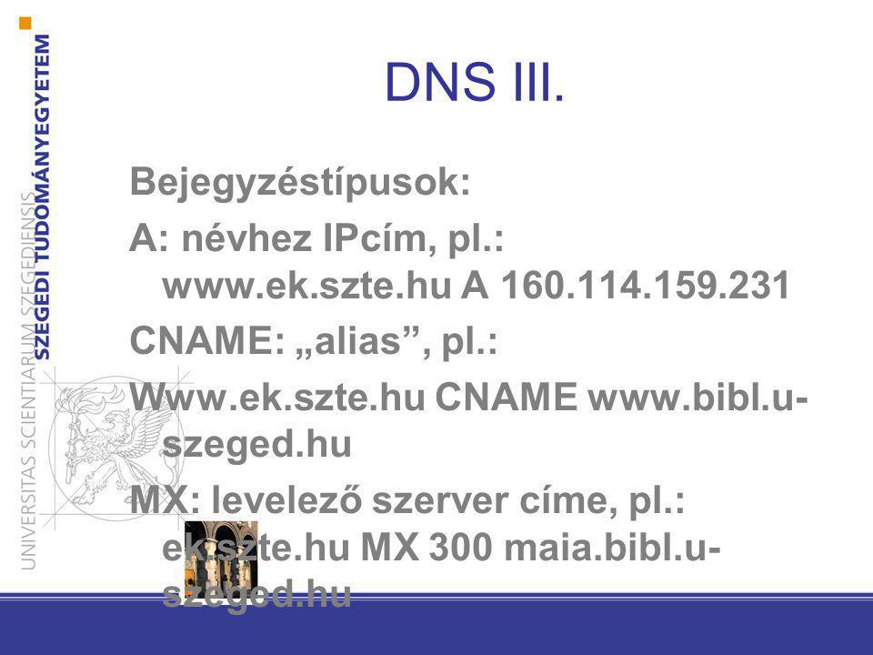 DNS III. Bejegyzéstípusok: